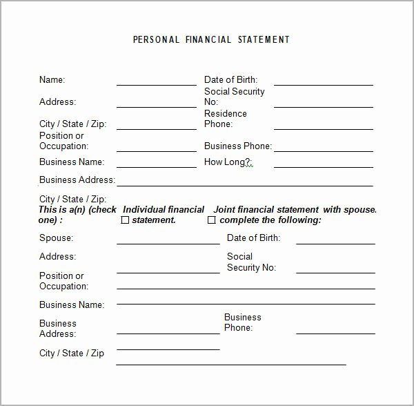 Financial Statement Template Xls Luxury Personal Financial Statement Templates 9 Download Free