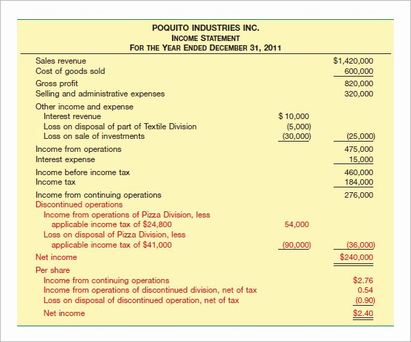 Financial Statements Template Pdf Awesome 17 Free Sample In E Statement Templates