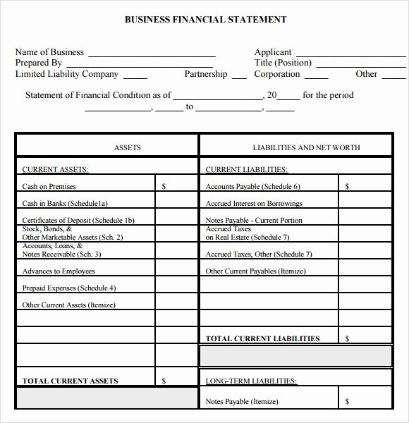 Financial Statements Template Pdf Best Of Personal Financial Statement form – 7 Free Samples