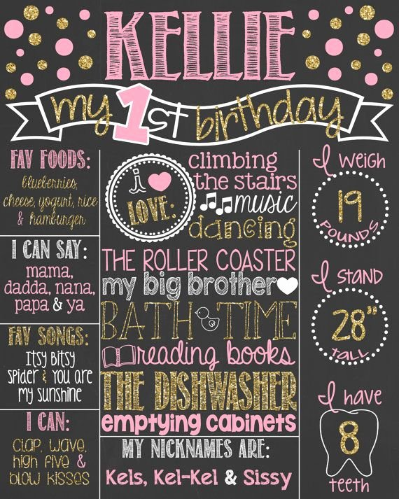 First Birthday Board Template Fresh Pink and Gold Glitter First Birthday