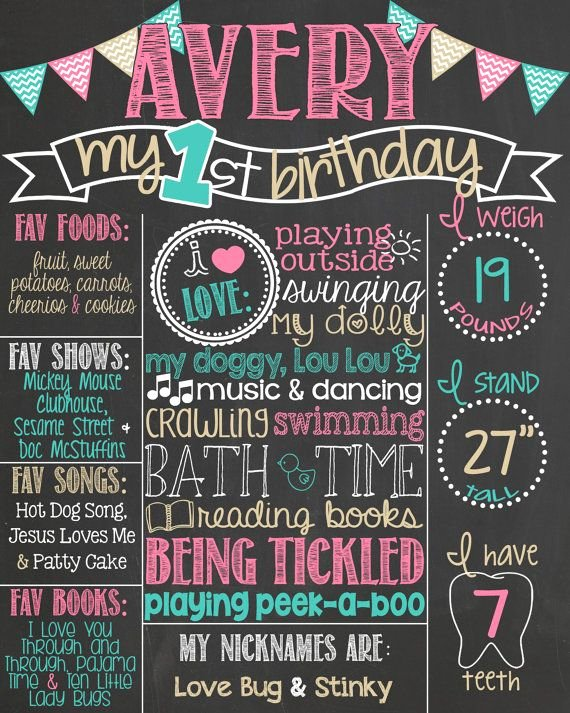 First Birthday Board Template Inspirational Pink Teal and Gold First Birthday Chalkboard Chevron