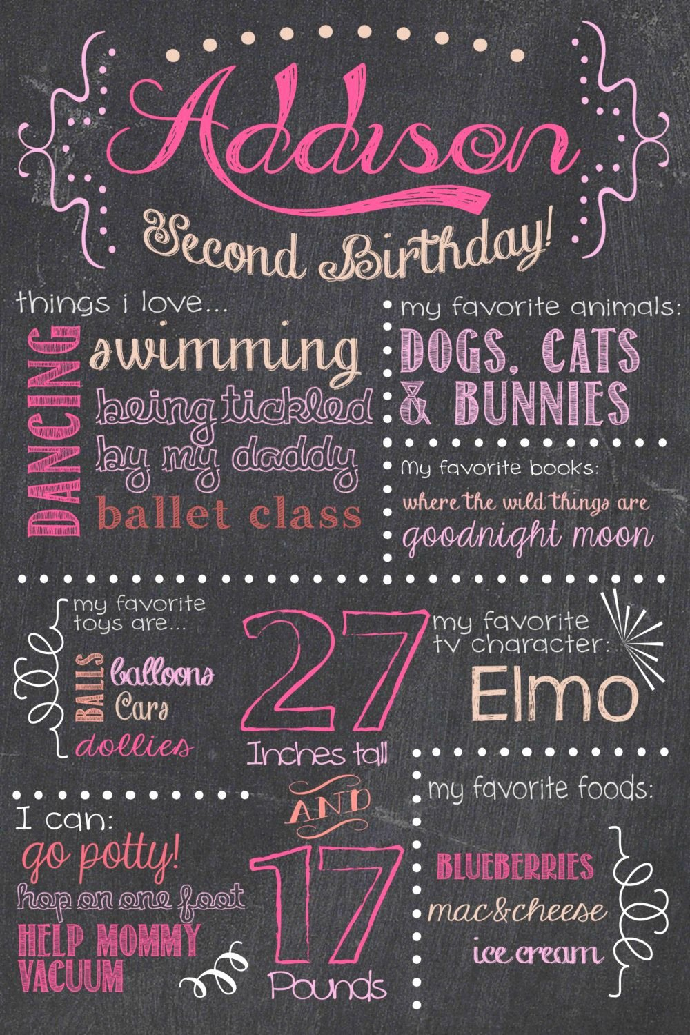 First Birthday Board Template New Birthday Chalkboard Sign Printable Girl by