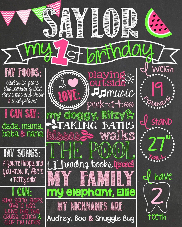 First Birthday Board Template New Chevron Watermelon First Birthday Chalkboard by