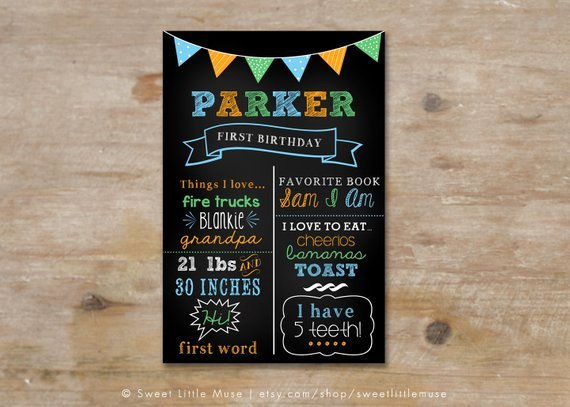 First Birthday Chalkboard Template Awesome First Birthday Chalkboard Template Chalkboard Birthday Sign