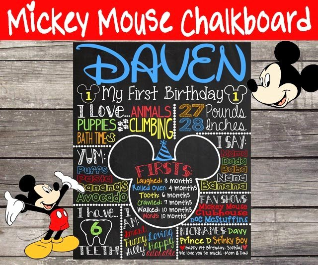 First Birthday Chalkboard Template Beautiful Mickey Mouse First Birthday Chalkboard 1st by