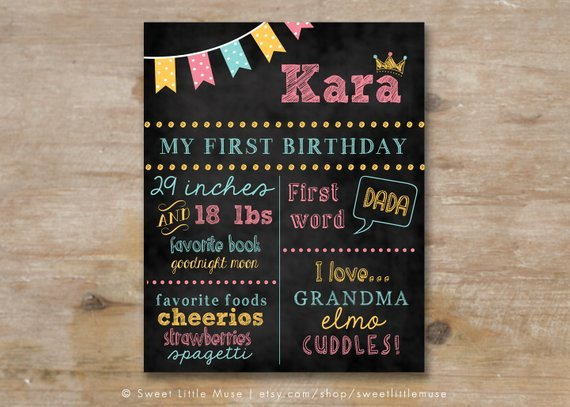First Birthday Chalkboard Template Fresh Unavailable Listing On Etsy