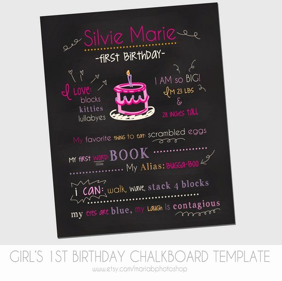 First Birthday Chalkboard Template New Items Similar to Girl S First Birthday Chalkboard Template
