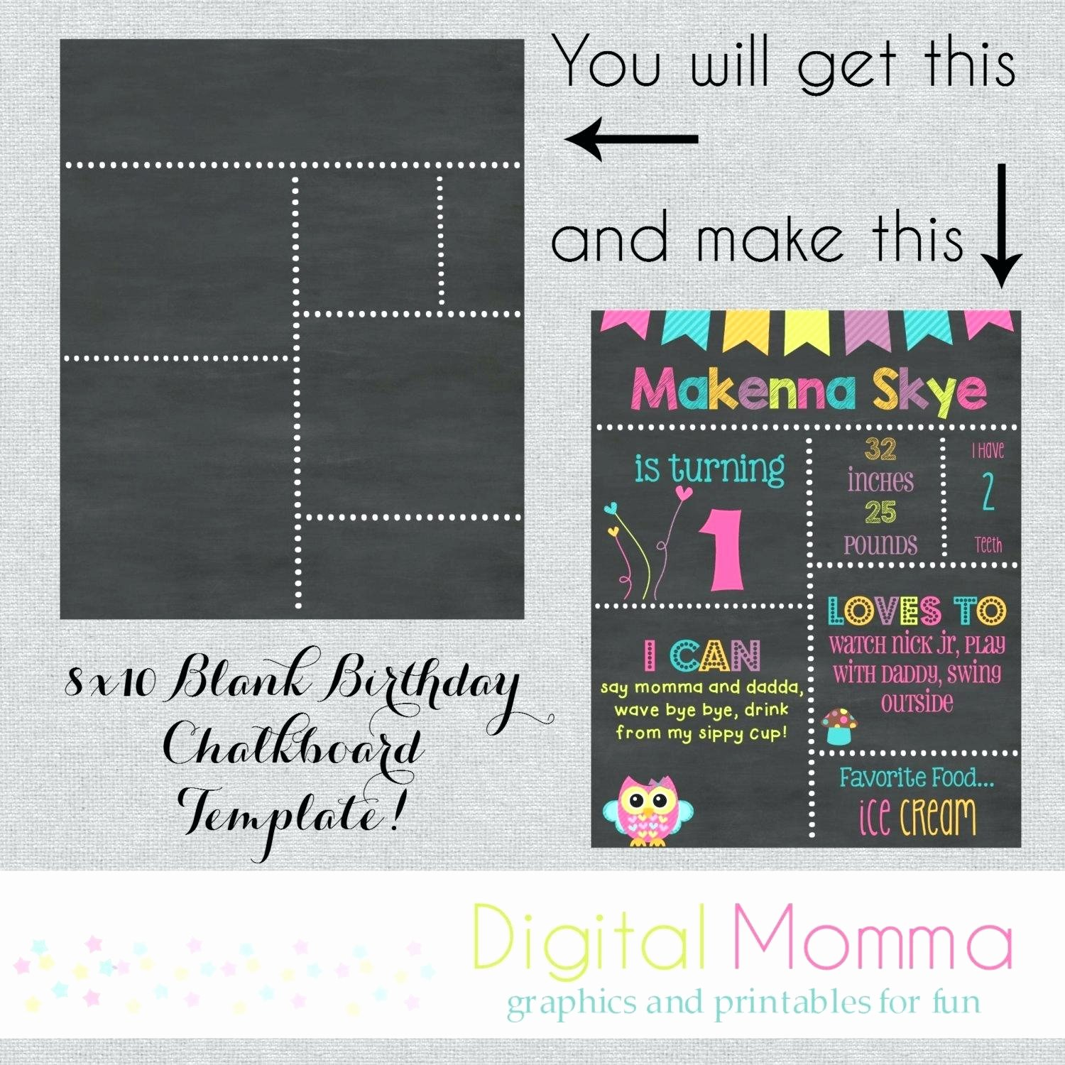 First Birthday Chalkboard Template Unique 1st Birthday Chalkboard Sign Template Free – Best Happy