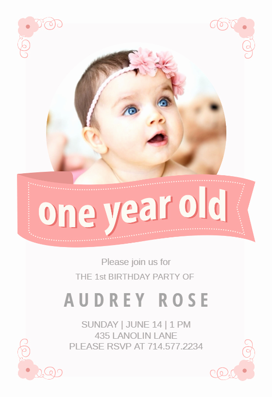 First Birthday Invitation Template Fresh Pink Ribbon Free Birthday Invitation Template