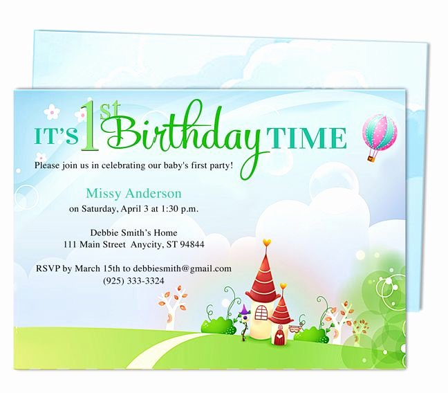 First Birthday Invitation Template Lovely Kid Landscape 1st Birthday Party Invitation Templates