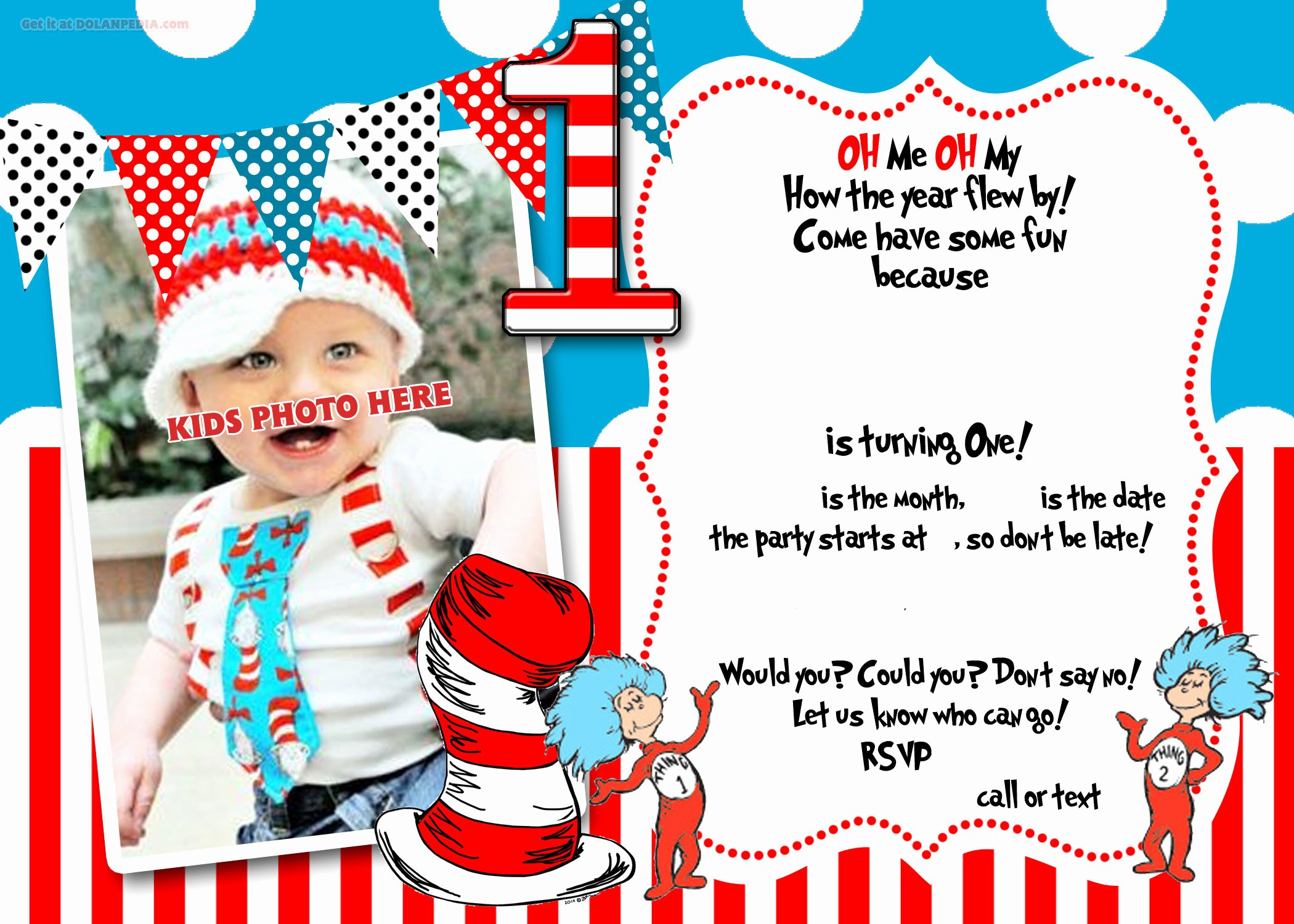 First Birthday Invitation Template Luxury Free Printable Dr Seuss 1st Birthday Invitation Template