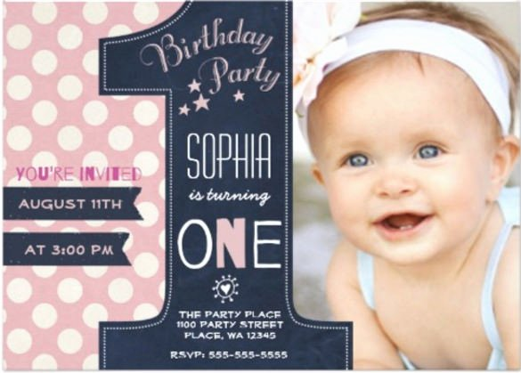 First Birthday Invitation Template New 32 First Birthday Invitations Psd Vector Eps Ai