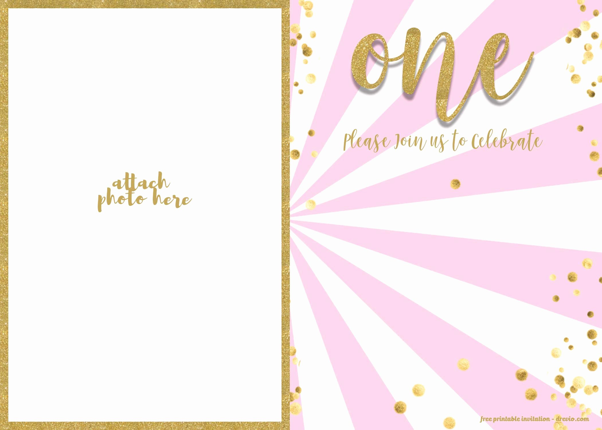 First Birthday Invitation Template New Free 1st Birthday Invitation Pink and Gold Glitter
