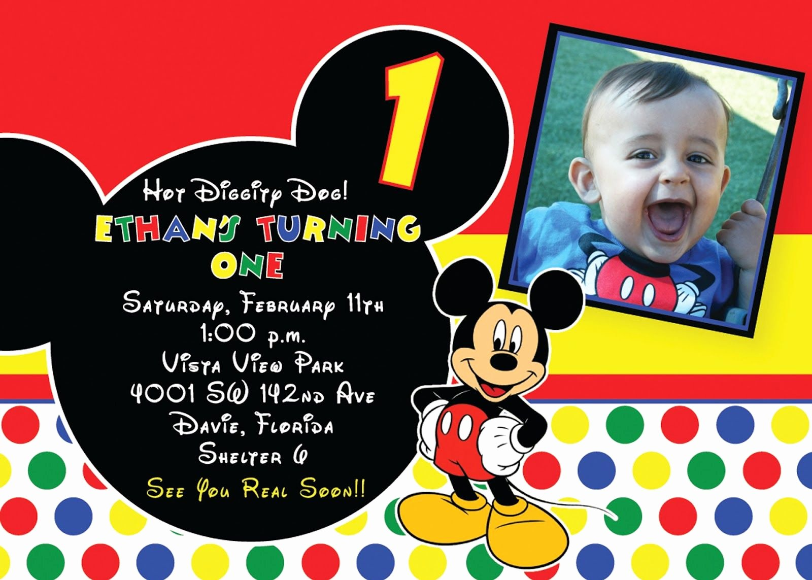 First Birthday Invitation Template Unique Mickey Mouse 1st Birthday Invitations