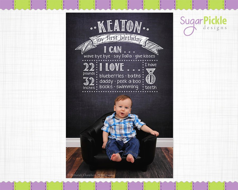 First Birthday Poster Template Luxury Birthday Chalkboard Template Birthday by Sugarpickle