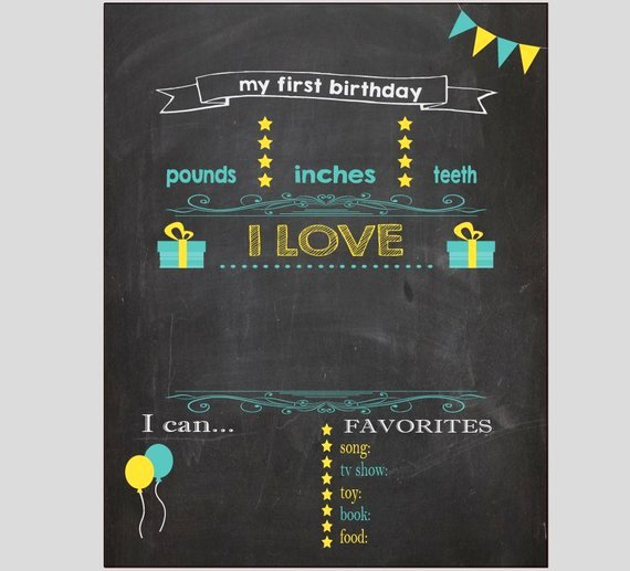 First Birthday Poster Template New Blank First Birthday Chalkboard Diy 1st Birthday Board Digital