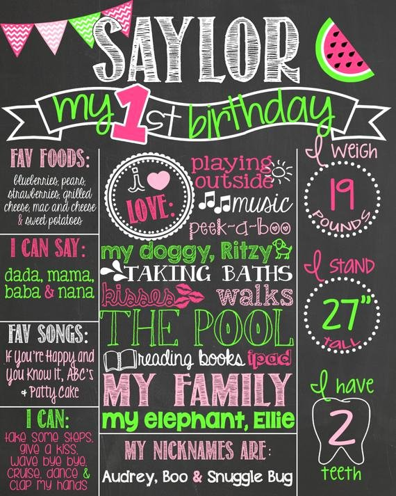 First Birthday Poster Template Unique Items Similar to Chevron Watermelon First Birthday