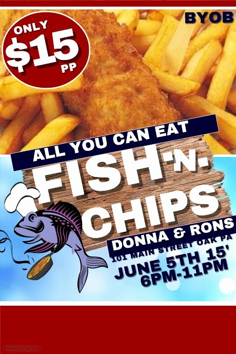 Fish Fry Flyer Template Fresh Fish and Chips Template