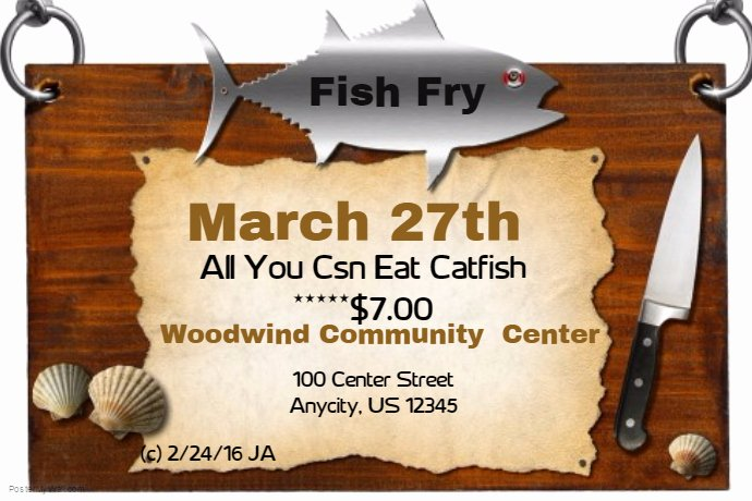 Fish Fry Flyer Template Luxury Fish Fry Template