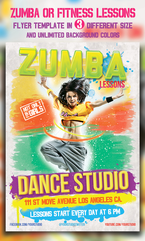 Fitness Flyer Template Free Best Of Zumba Fitness Lessons Flyer Templates by Majkolthemez