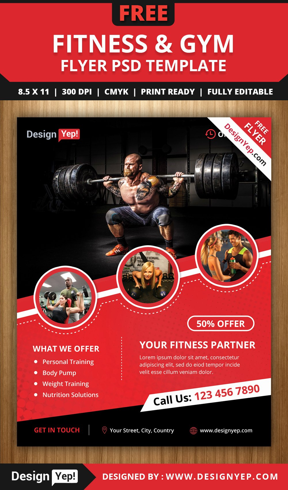 free fitness gym flyer psd template