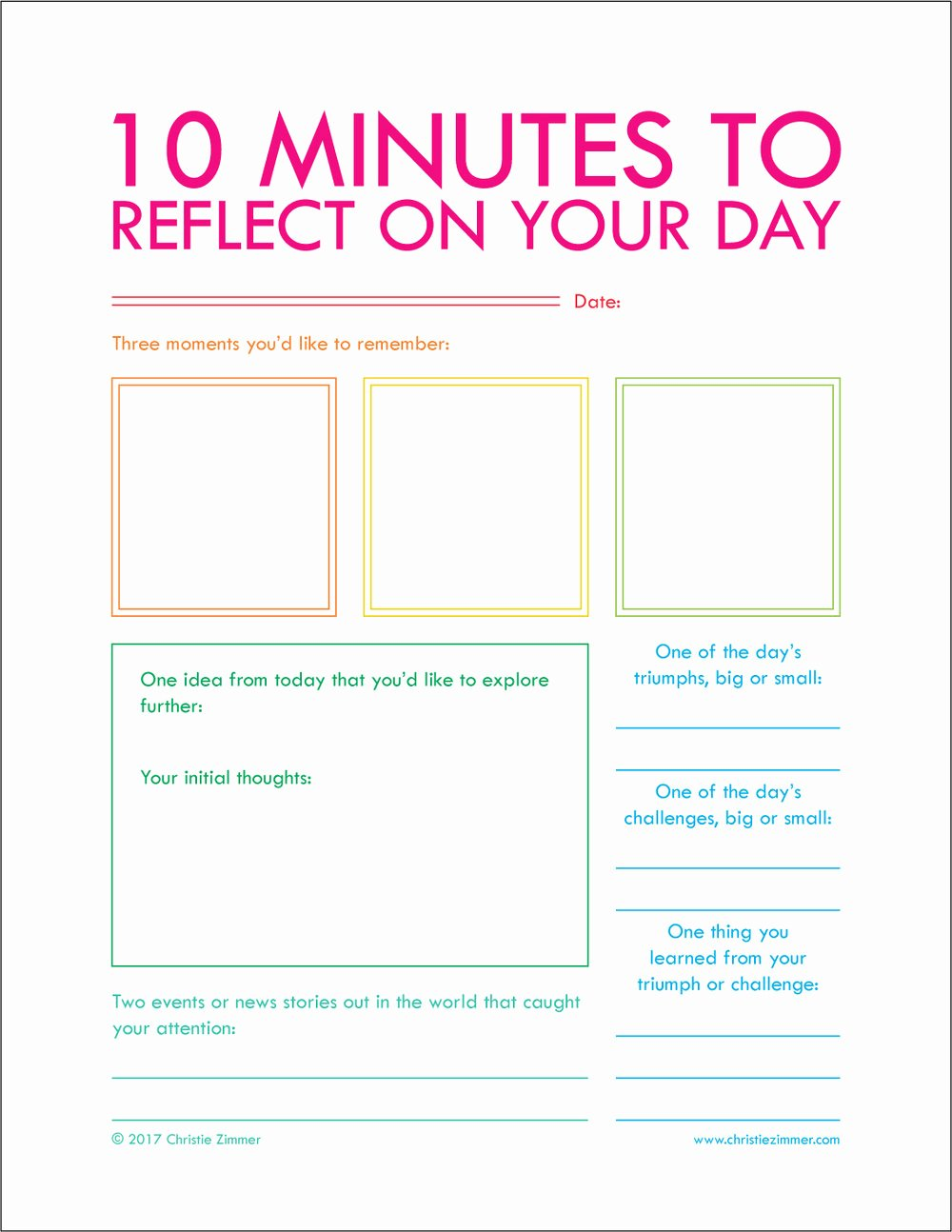Five Minute Journal Template Inspirational Printables — Christie Zimmer