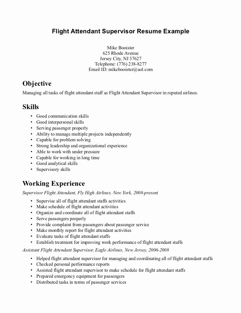 Flight attendant Resume Template Awesome Examples Flight attendant Resumes – Perfect Resume format
