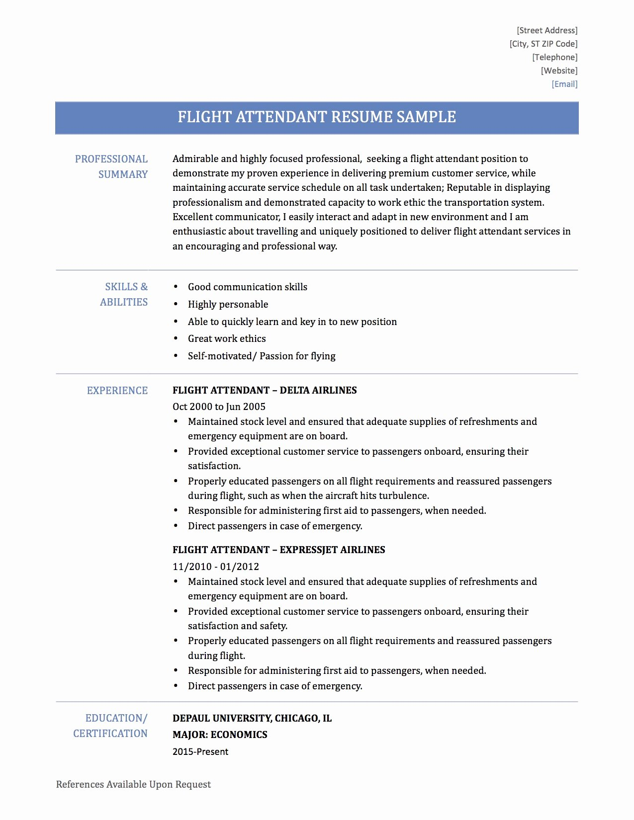Flight attendant Resume Template Awesome Resume Flight attendant Resume Ideas