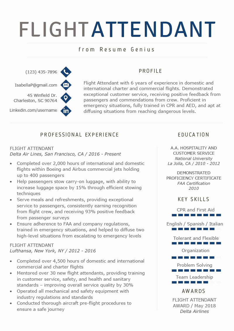 Flight attendant Resume Template Best Of Flight attendant Resume Sample & Writing Guide