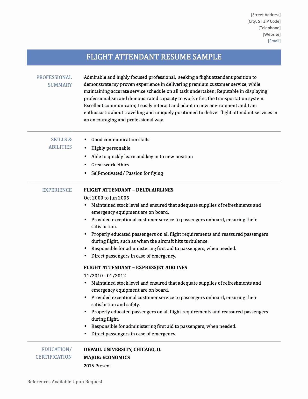 Flight attendant Resume Template Elegant 31 Good Flight attendant Resume No Experience Ts U