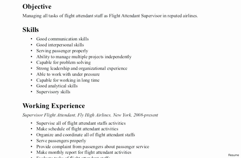Flight attendant Resume Template Luxury Flight attendant Resume Example Flight attendant Resume