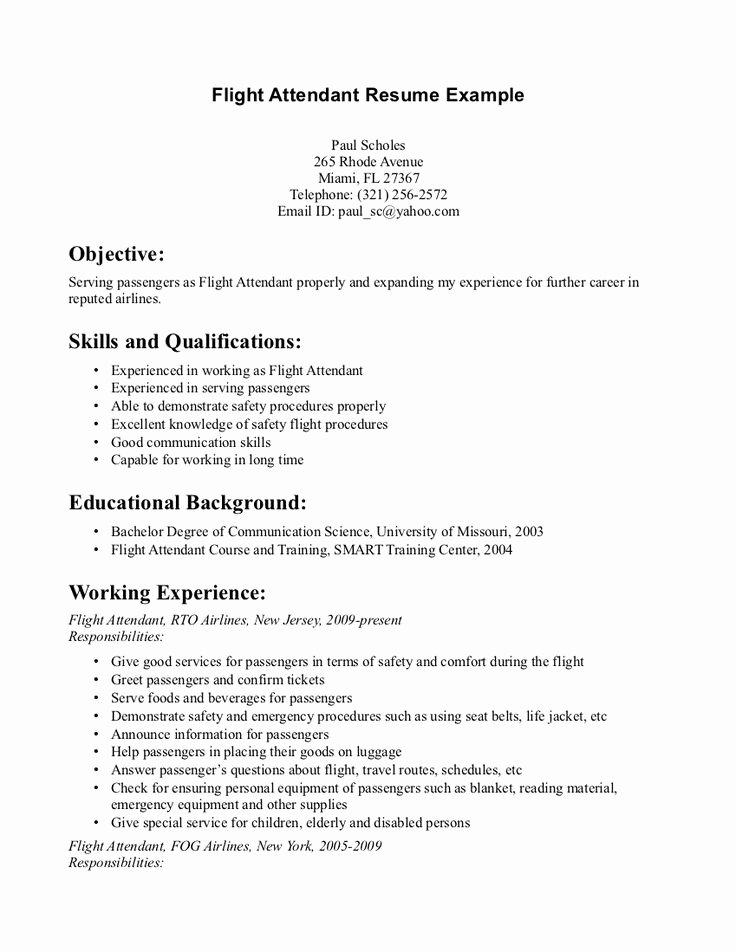 Flight attendant Resume Template New Flight attendant Resume Monday Resume