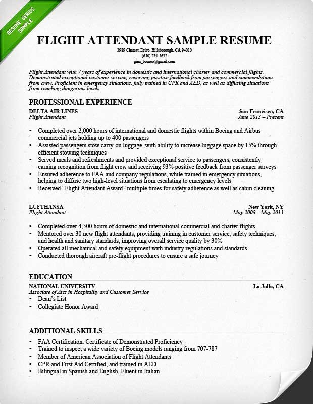 Flight attendant Resume Template New Flight attendant Resume Sample & Writing Guide