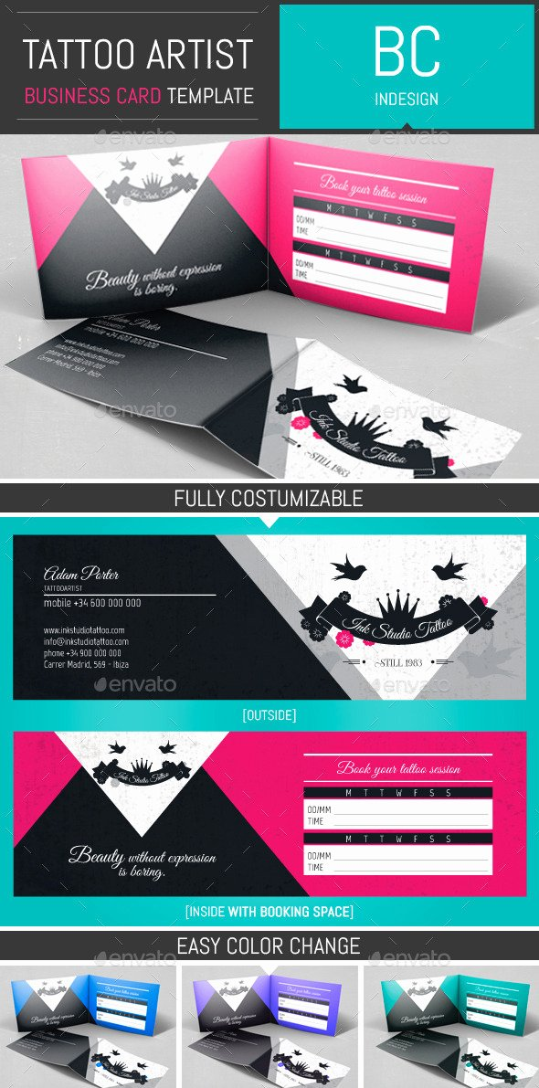 Foldable Business Card Template Beautiful Tattoo Artist Folded Business Card Template by Dogmadesign