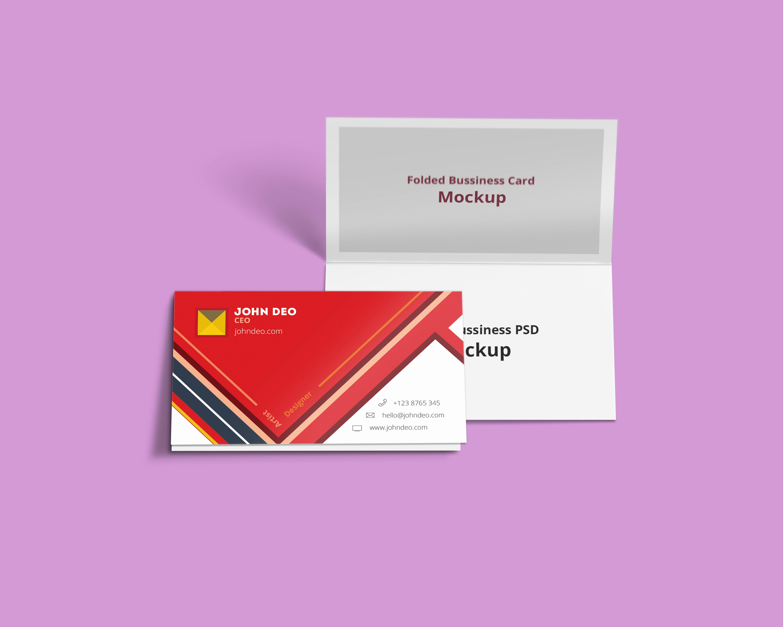 Foldable Business Card Template Fresh Folded Business Card Psd Mockup Creativecrunk