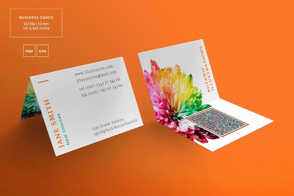 Foldable Business Card Template Unique 21 Folded Business Cards Free & Premium Download