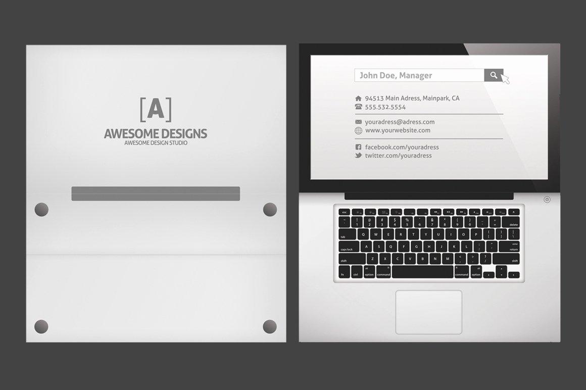 Foldable Business Card Template Unique Laptop Folded Business Card Template Business Card