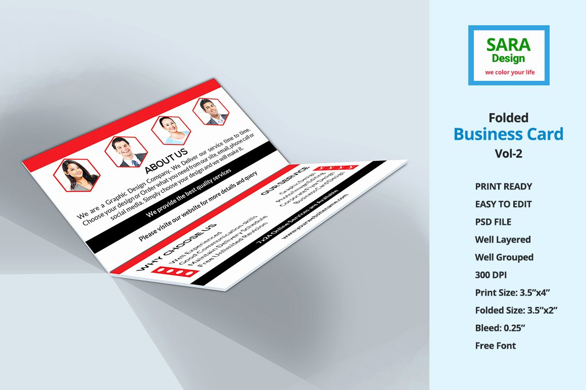 Folded Business Card Template Awesome Corporate Folded Business Card Vol 2 Business Card