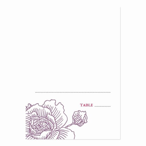 Folded Business Card Template New Hand Drawn Rose Folded Place Cards Purple Business Card