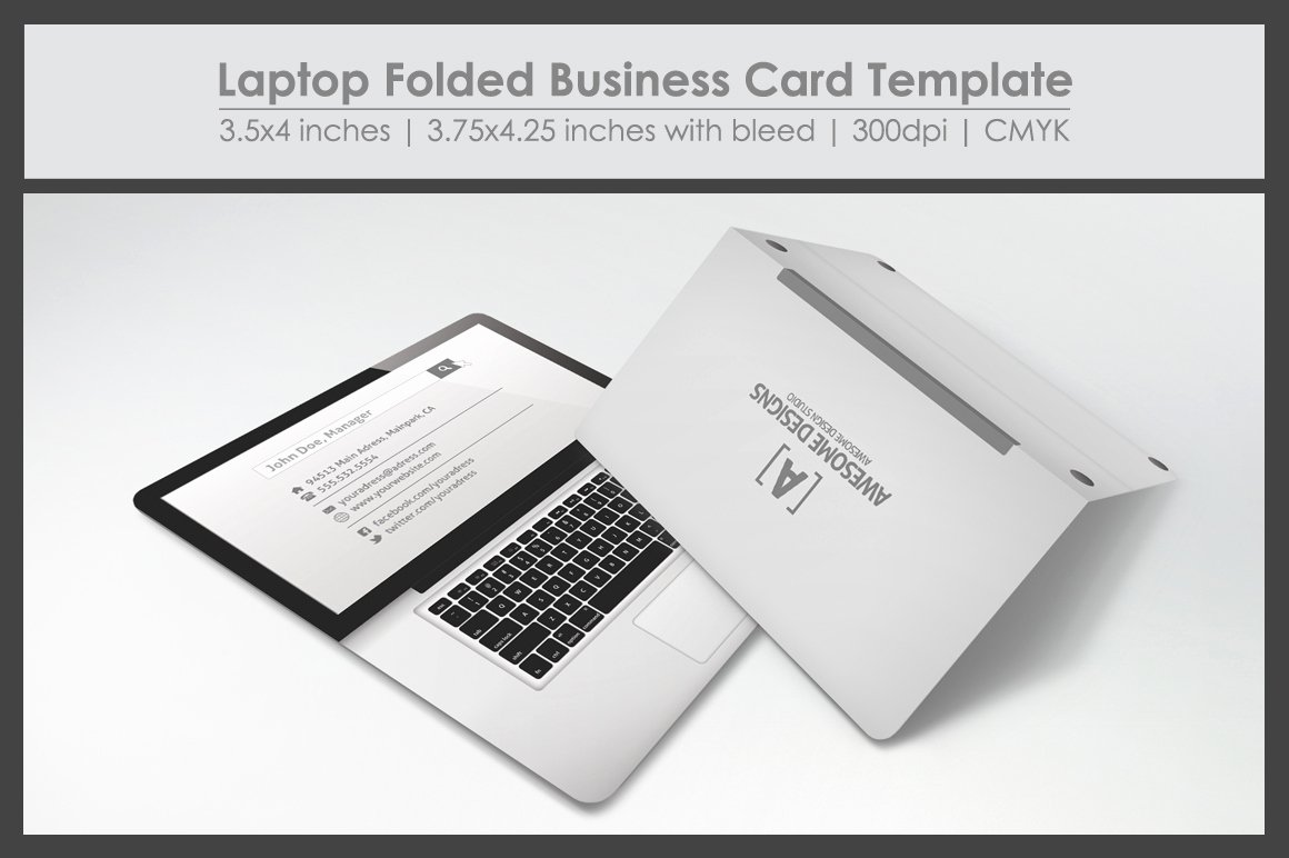 Folded Business Cards Template Luxury Laptop Folded Business Card Template Business Card