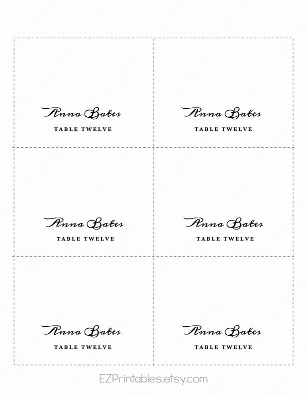 Folded Name Card Template Elegant Folded Place Cards Template Fold Over Place Card Template