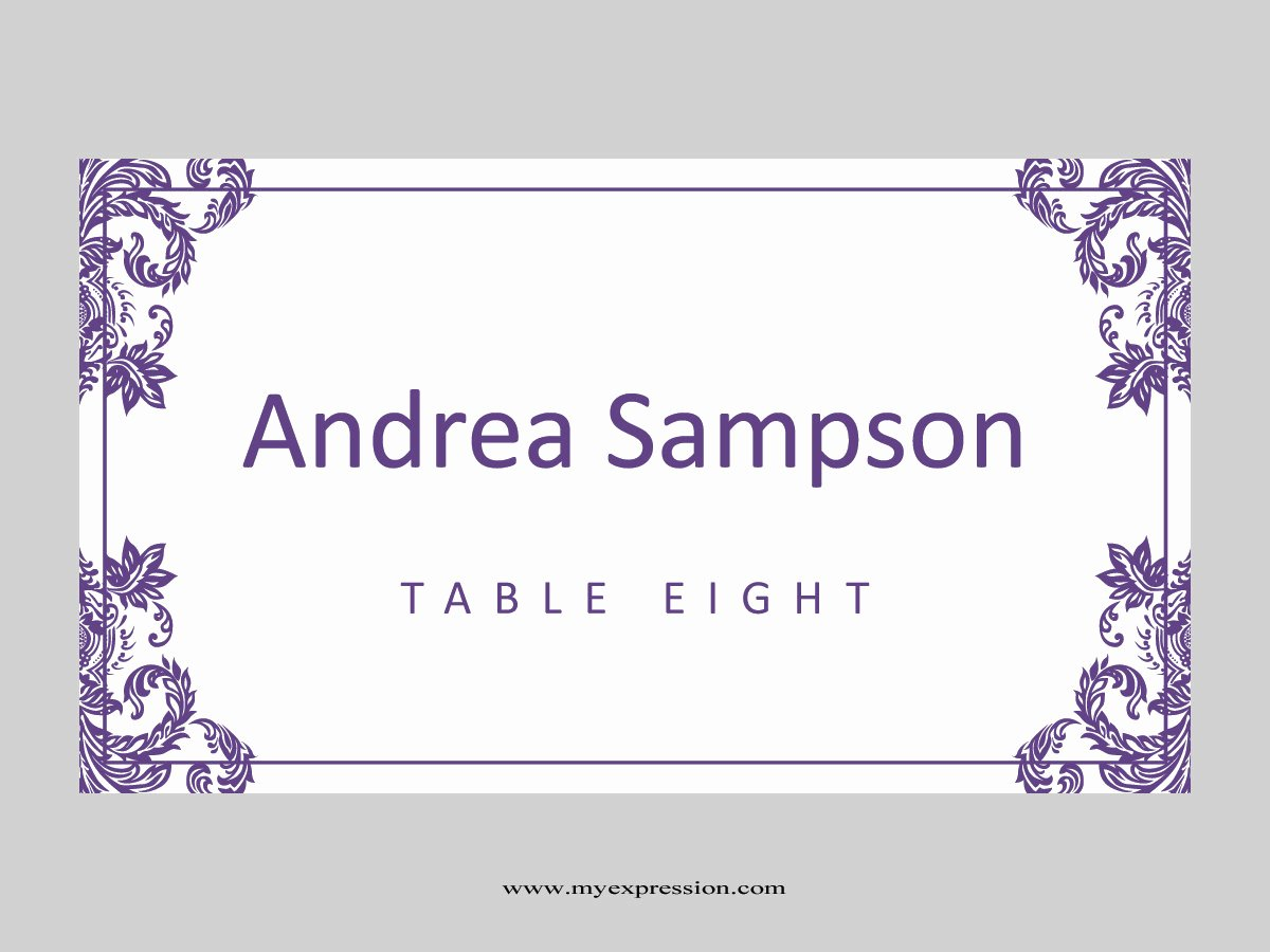 Folded Name Card Template Fresh Wedding Place Cards Template Folded Purple Damask