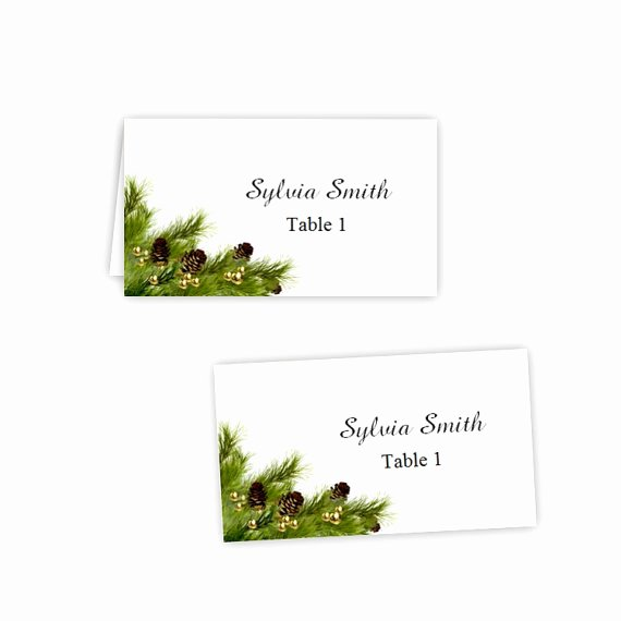 Folded Name Card Template Luxury Items Similar to Pine Cones Folded Table Tent & Flat
