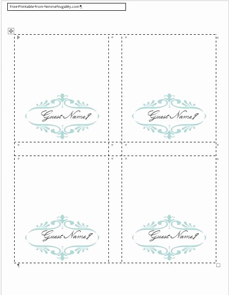 Folded Name Card Template New 9 Best Of Place Card Template Word Diy Wedding
