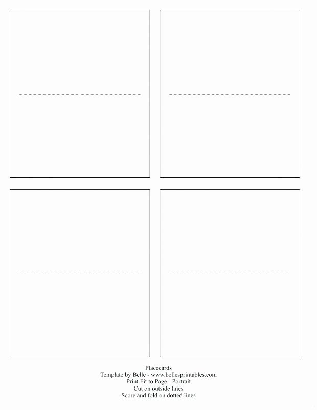 Folded Name Card Template Unique Free Template Cards Fold Over Place Card Word – Goeventz