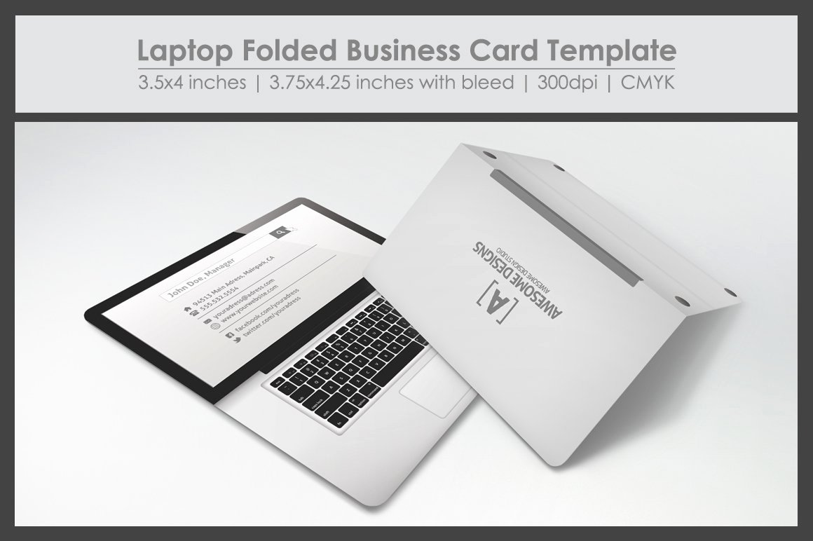 Folded Name Card Template Unique Laptop Folded Business Card Template Business Card