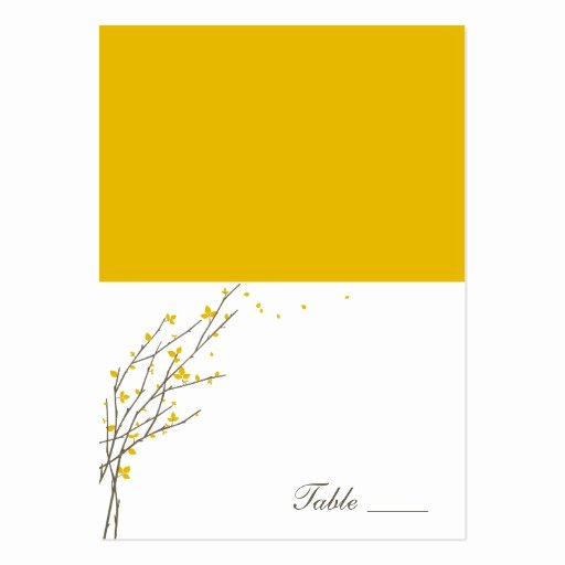 blooming branches folded place cards mustard business card