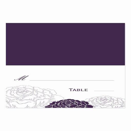 Folding Business Card Template Inspirational Rose Garden Folded Wedding Place Card Purple