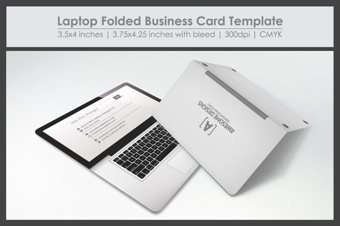 Folding Business Card Template Lovely Laptop Folded Business Card Template Business Card