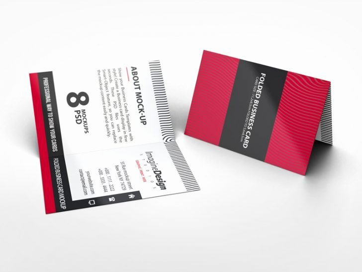 Folding Business Cards Template Elegant Folded Postcard Mockup
